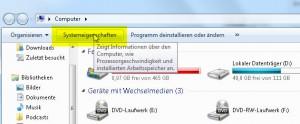 Systemeingenschaften Screen