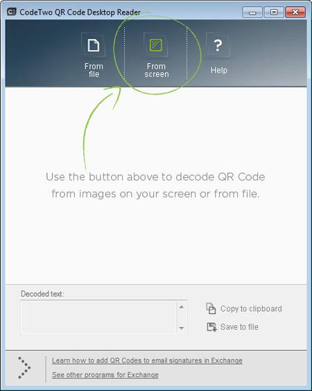 Code to QR Code Reader screen